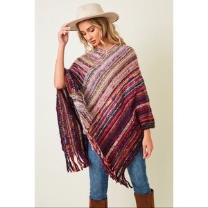 Pancho Sweater with Fluffy Yarn